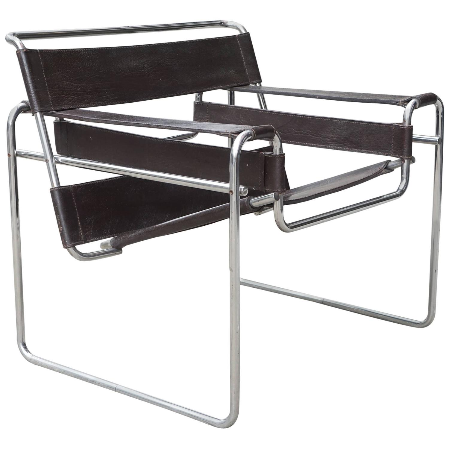 vintage marcel breuer wassily chrome and leather chair for sale at 1stdibs. Black Bedroom Furniture Sets. Home Design Ideas