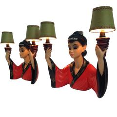 Pair of Ultra Chic and Rare Wall Lamps, Signed S. Melani