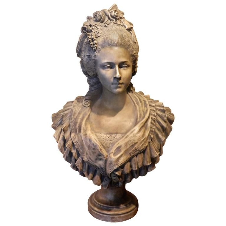 French Terracotta Bust of Marie Antoinette, Late 19th-Early 20th Century
