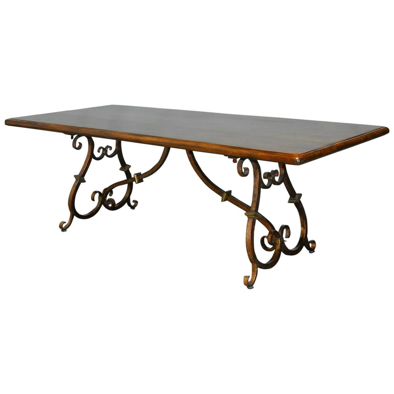 Spanish Colonial Trestle Table With Wrought Iron Scrolled