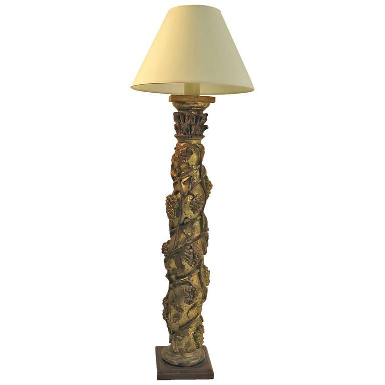 19th century italian gilt wood floor lamp for sale