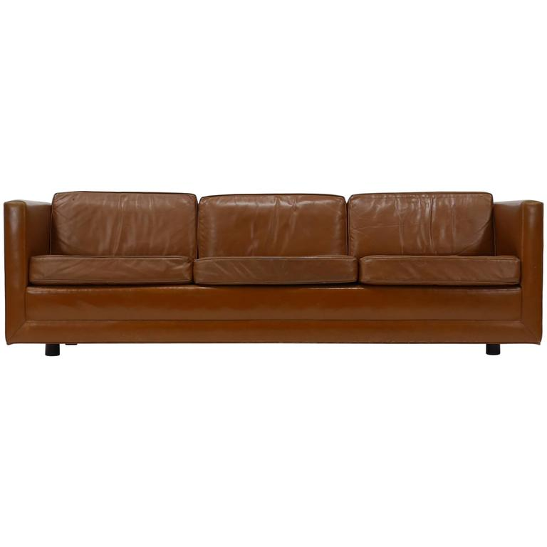 Leather Tuxedo Sofa by Harvey Probber