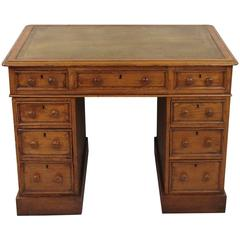 Small English Oak Pedestal Desk, Possibly a Child's Desk