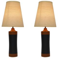 Pair of Teak and Leather Lamps with Shades by Lotte Bostlund