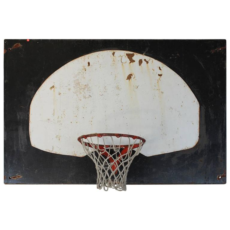 Lovely Original 1920s Metal Basketball Backboard and Cast Iron Hoop at  WB83