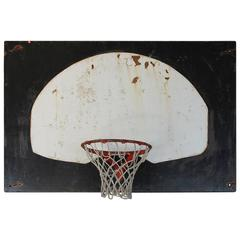 Original 1920s Metal Basketball Backboard and Cast Iron Hoop