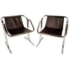 Pair of Jerry Johnson Arcadia Leather Lounge Chairs