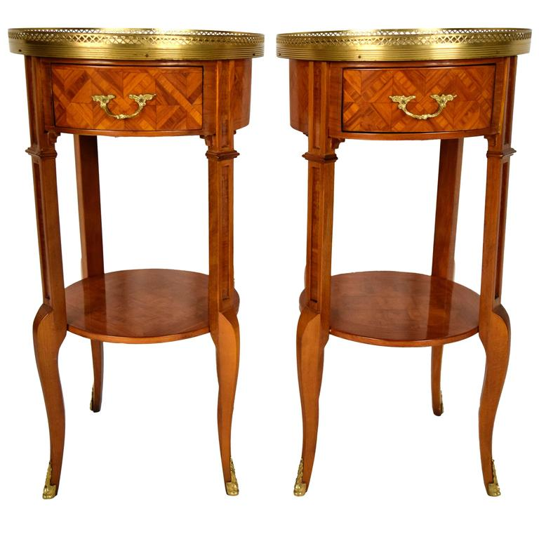Pair of French Vintage Louis XVI Marquetry Side Tables