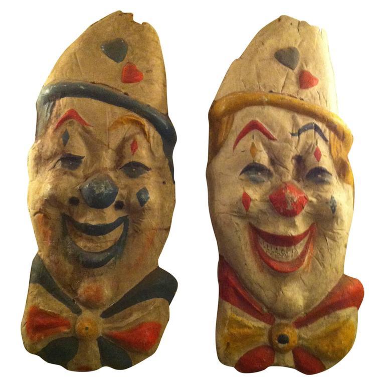 Vintage Papier Mâché Circus Clowns