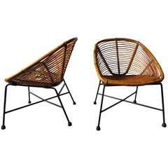 Pair of Rattan Cocktail/Lounge Chairs with Iron Legs, 1960s
