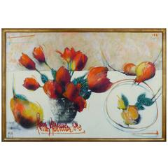 Pérez-Becerra Contemporary Abstract Floral Still Life Oil Painting