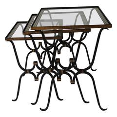 Stacking French Tables with Reverse Painted Glass