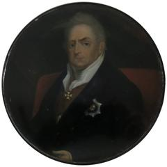 Extra Large Stobwasser Lacquered Papier Mache Snuff Box Depicting William IV