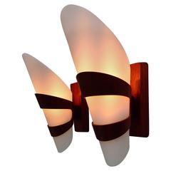 Two Very Nice Wall Lamps Complete Made of Teakwood
