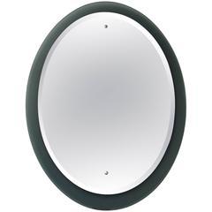 Good Quality Italian 1970s Fontana Arte Style Oval Mirror with Smoky Gray Border