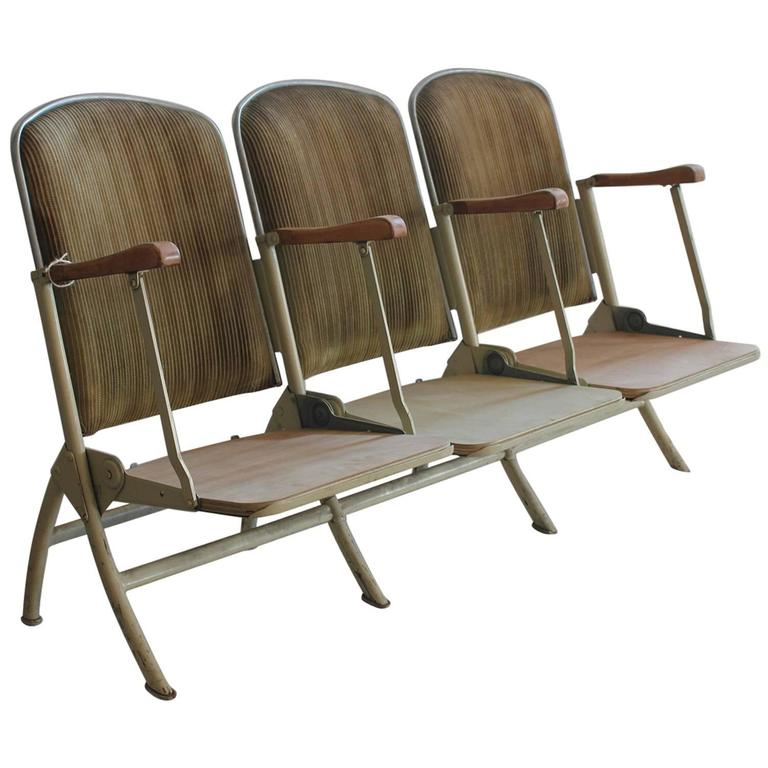 1920s American Stadium Three-Seat Bench