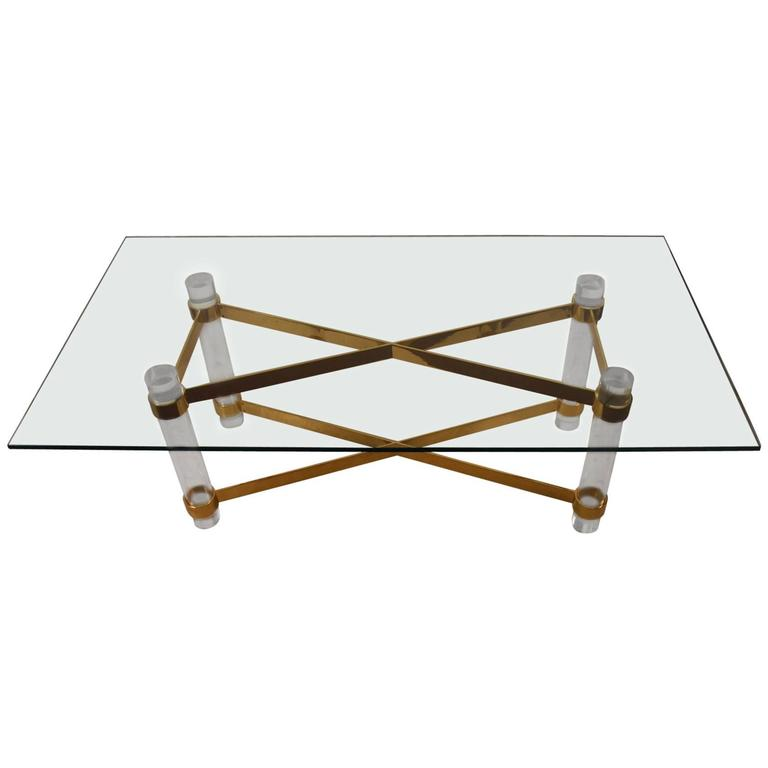 High Quality Lucite Brass and Glass Dining Table