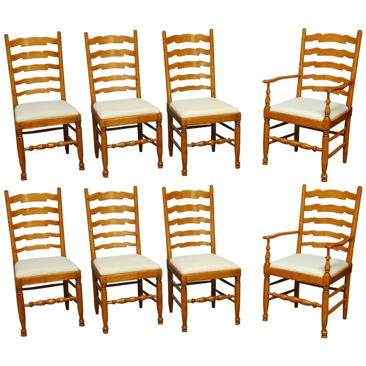 Set of eight english ladder back dining chairs at 1stdibs - Ladder back dining room chairs ...