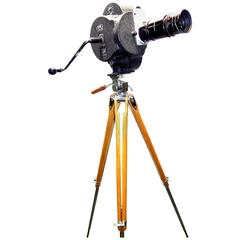 Motion Picture Camera Hand Crank Wind circa 1931 with Wood Tripod Vintage