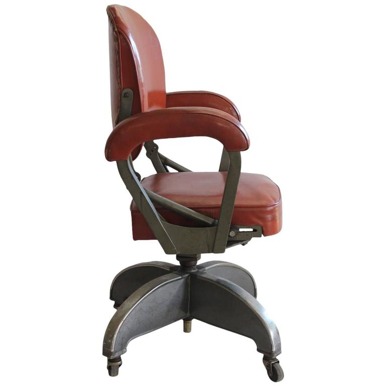 Stylish Art Deco Leather and Metal Desk Chair at 1stdibs