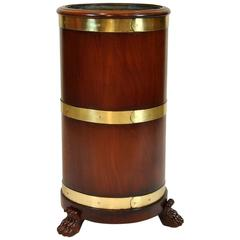 English Mahogany with Brass Bound Cane or Umbrella Holder with Liner
