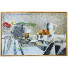 Contemporary Perez Becerra Abstract Table Still Life Oil Painting