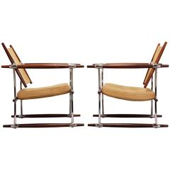 Excellent Pair of Jens Quistgaard Chrome Rosewood Stokke Chairs, 1966