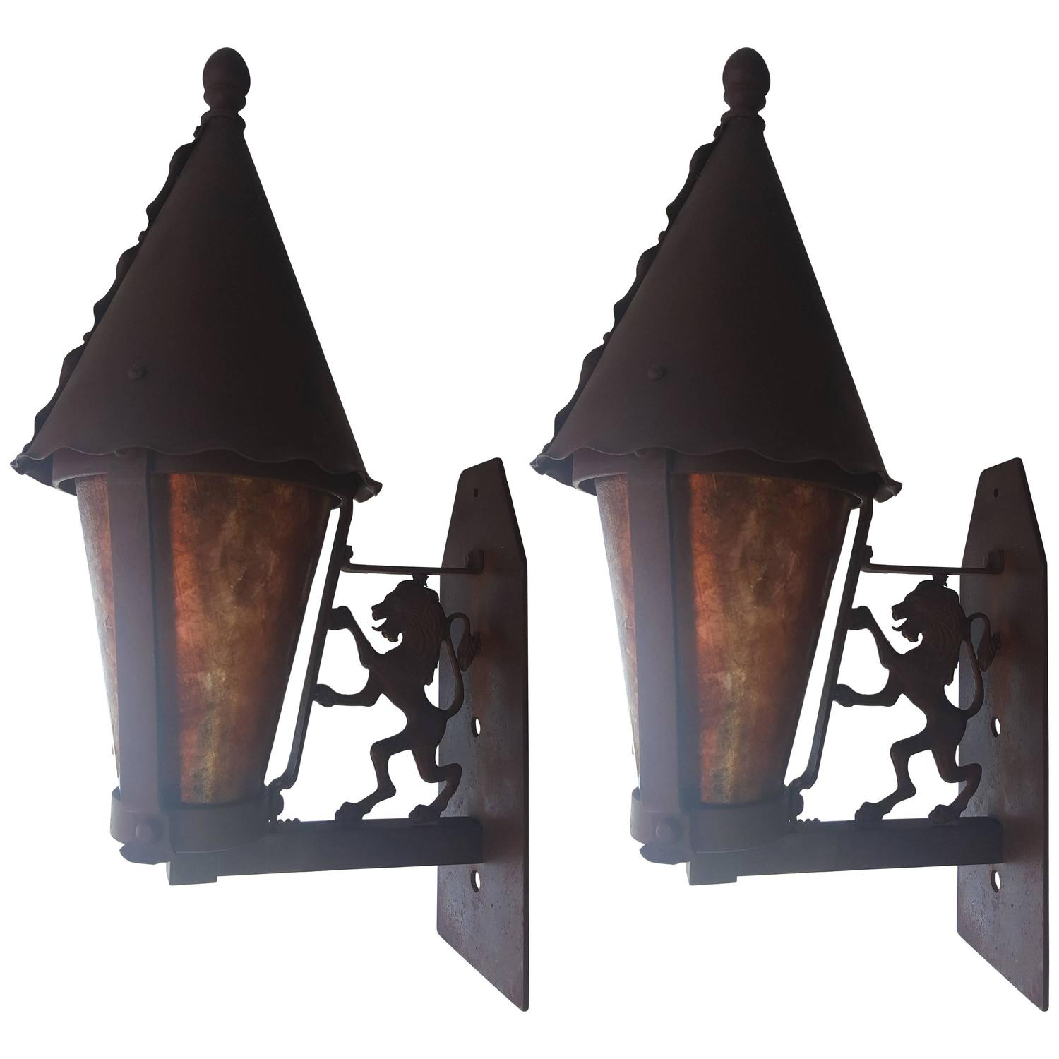 Gothic Wall Sconces: Pair Of Mica And Iron Gothic Revival Wall Sconces For Sale