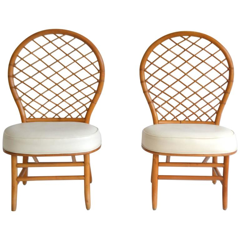 Pair of mid century bent bamboo hall chairs at 1stdibs for Bent bamboo furniture