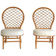 Pair of Mid-Century Bent Bamboo Hall Chairs