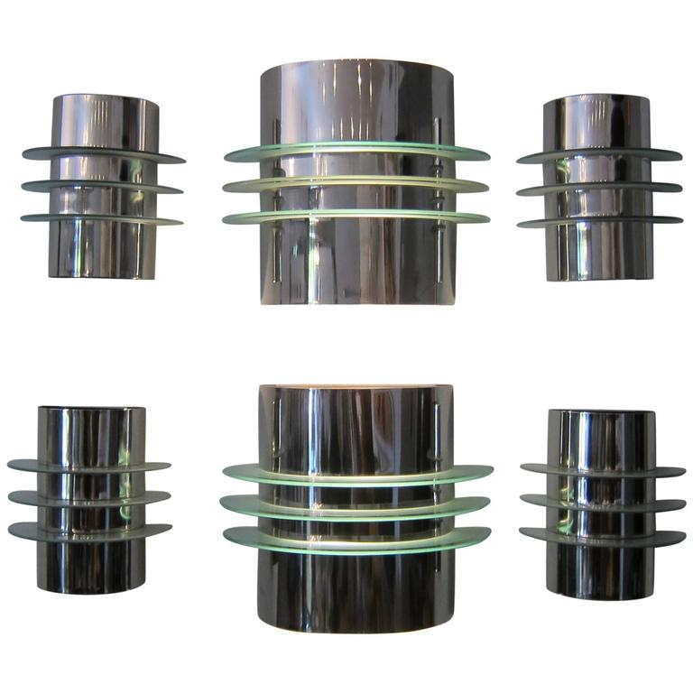 Group of Six Art Deco style Chrome and Glass Wall Lights. 1