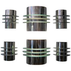 Exceptional Suite of Six Streamline Sconces
