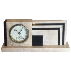 Art Deco Marble Geometric Desk Clock
