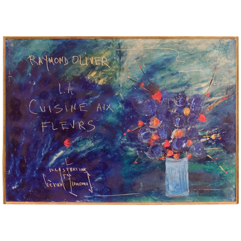 """Painting on Canvas, """"La Cuisine Aux Fleurs"""" by Gerard Economos"""