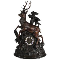 Late 19th Century Black Forest Stag Mantel Clock