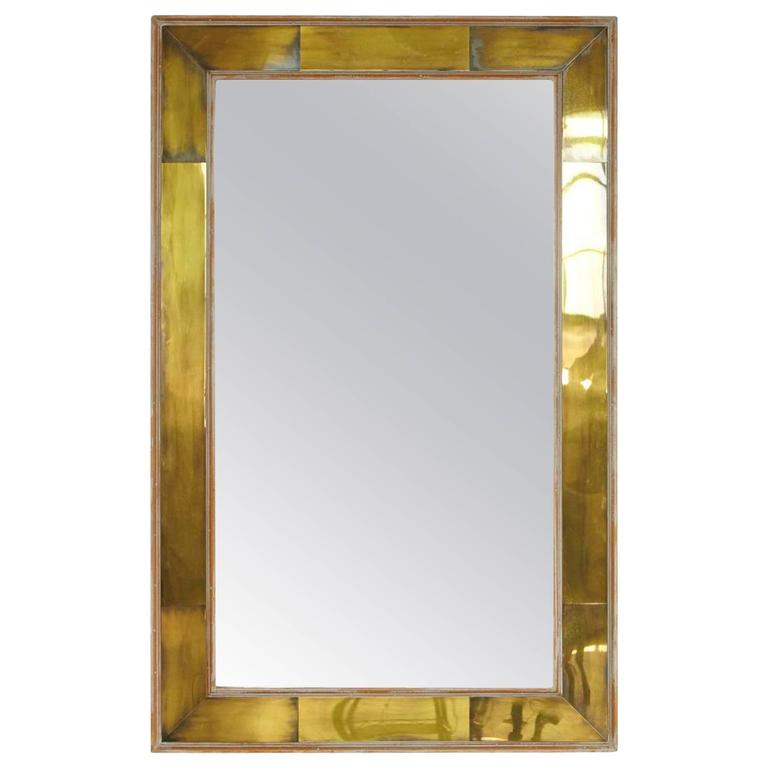 Modern Wall Mirror with Lacquered Brass Inlays and White Washed Wood Frame 1