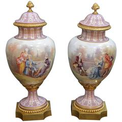 Pair of 19th Century Sevres Covered Urns