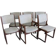 Set of Six 1960s Danish Design Chairs by Benny Linden