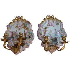 Pair of French Faience Wall Sconces