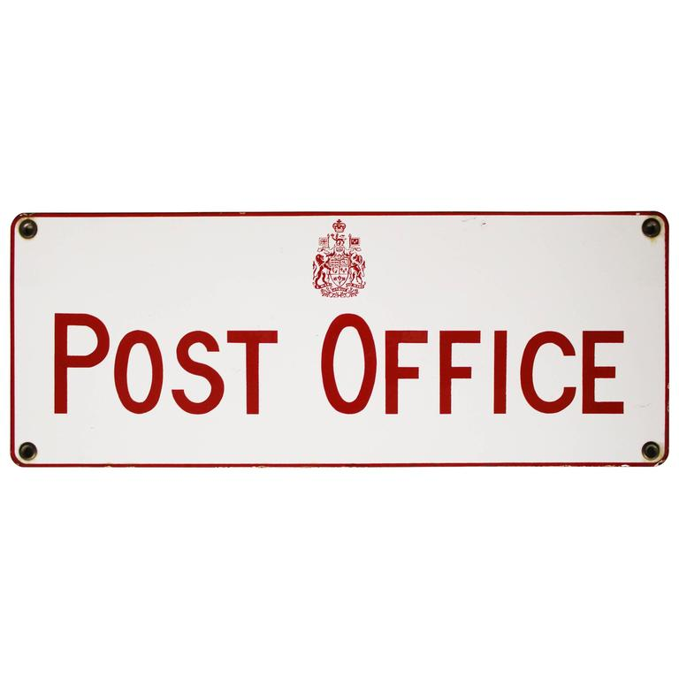 Gentil Vintage Canadian Post Office Porcelain Sign
