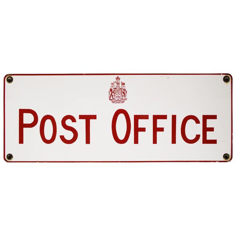 Vintage Canadian Post Office Porcelain Sign For Sale