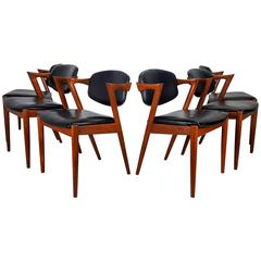 Kai Kristiansen Dining Chairs Model 42, Set of Six