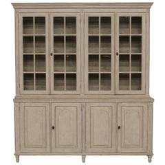 Swedish Late Gustavian Four-Door Painted Vitrine Cabinet, 19th Century