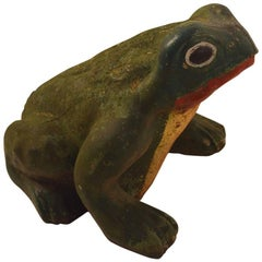 Great Cast Stone Garden Frog in Old Paint Surface