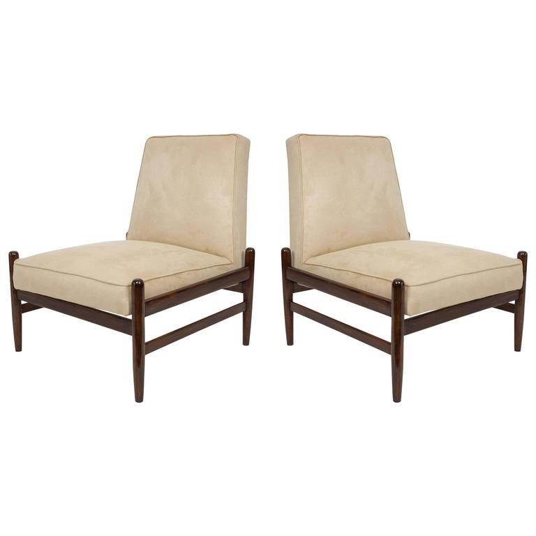 Pair of Liceu De Artes & Oficios Lounge Chairs in Faux Suede and Jacaranda For Sale