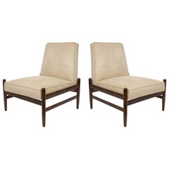 Pair of Liceu De Artes & Oficios Lounge Chairs in Faux Suede and Jacaranda