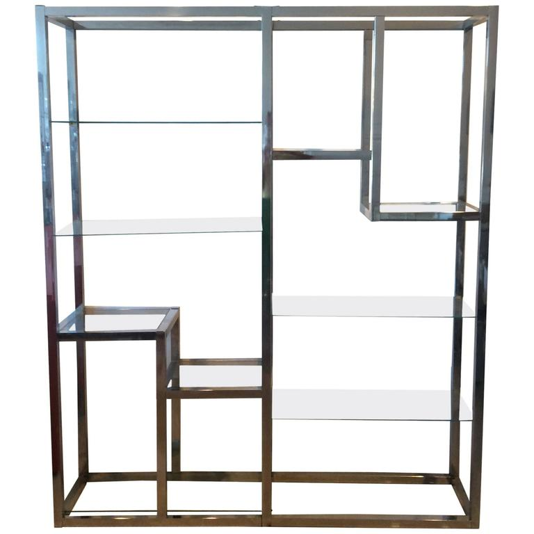 Chrome Etagere Vintage Display Shelves Ten-Shelf Glass Hollywood ...