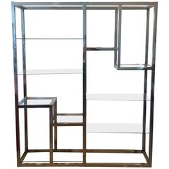 Chrome Etagere Vintage Display Shelves Ten-Shelf Glass Hollywood Regency