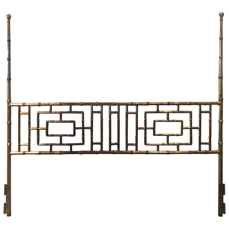 Faux Bamboo Chinese Chippendale Vintage King Size Headboard Bed Geometric For