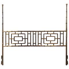 Vintage Faux Bamboo Chinese Chippendale King-Size Headboard Bed Geometric